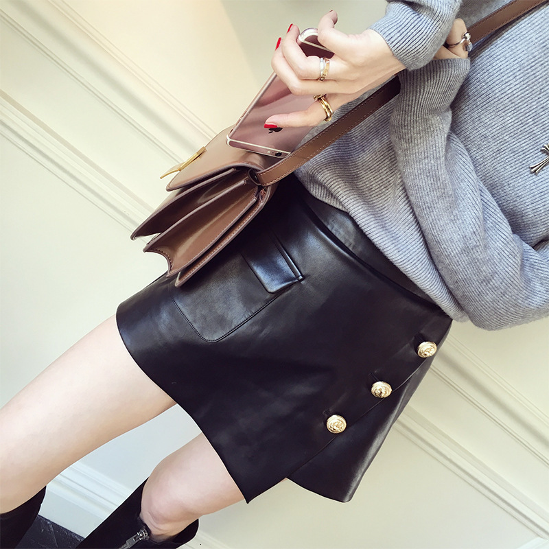 Tout nouveau Punk concepteur femmes réel en peau de mouton en cuir Shorts jupe mode une ligne Rock bouton taille haute coupe mince Mini jupes 2XL