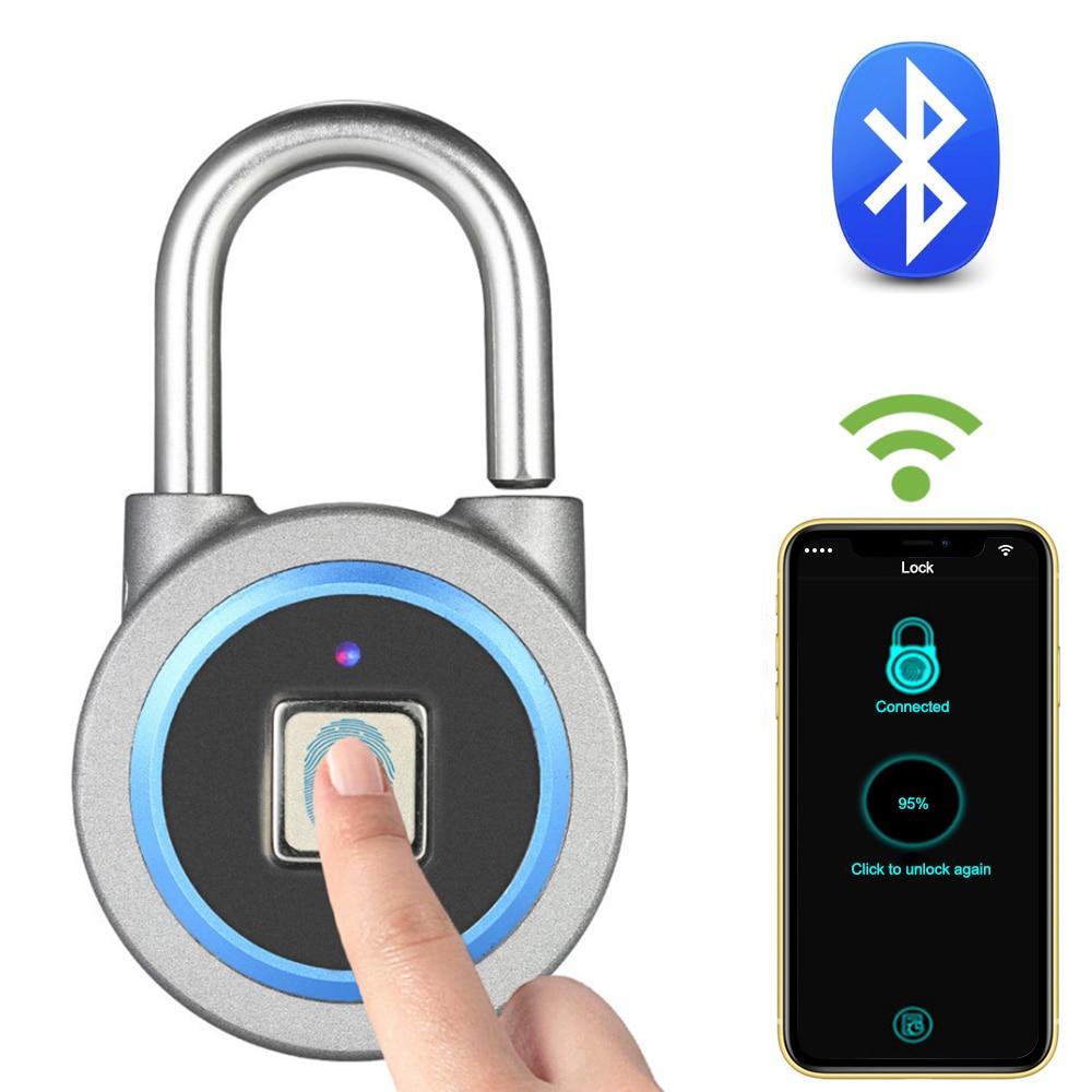 Bluetooth Fingerprint Lock Portable Keyless Smart USB Electric Lock IP65 Waterproof Bag Luggage Case Phone APP Control Lock