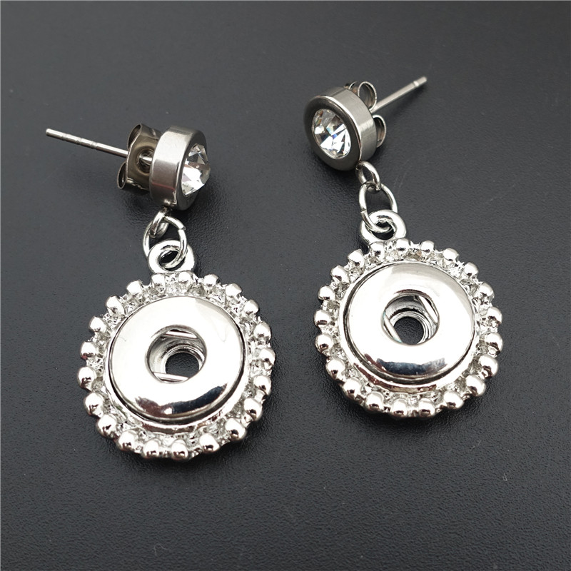 12mm Snap Button Earrings With Rhinestone Stainless Steel Ear Pin Women Jewelry 12 Pairs / Lot Wholesale image
