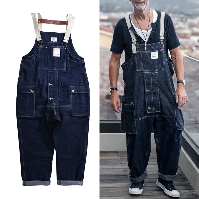 Denim Bib Overalls Jeans Mens Cargo Work Pants Functional Multiple Pockets Pant Coveralls Men Loose Dark Blue Trousers