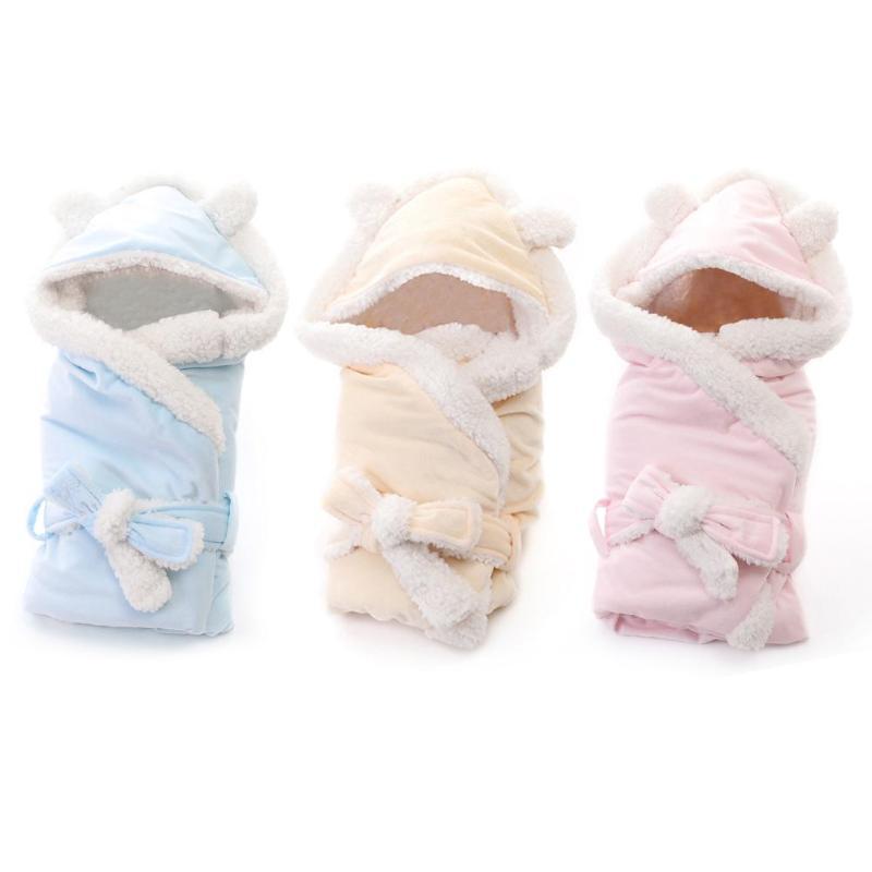 Envelope Baby Sleeping Bag Comfortable Waistband With Hat Pocket Coral Velvet Swaddle Wrap For Infant Stroller Blanket