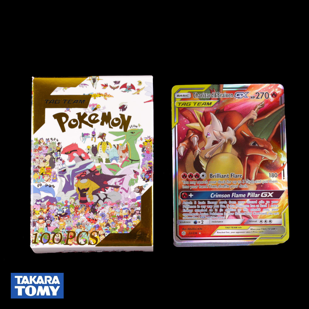100pcs Pokemon Card TAG TEAM GX Flash Cards Collectible Trading Card Game Toys