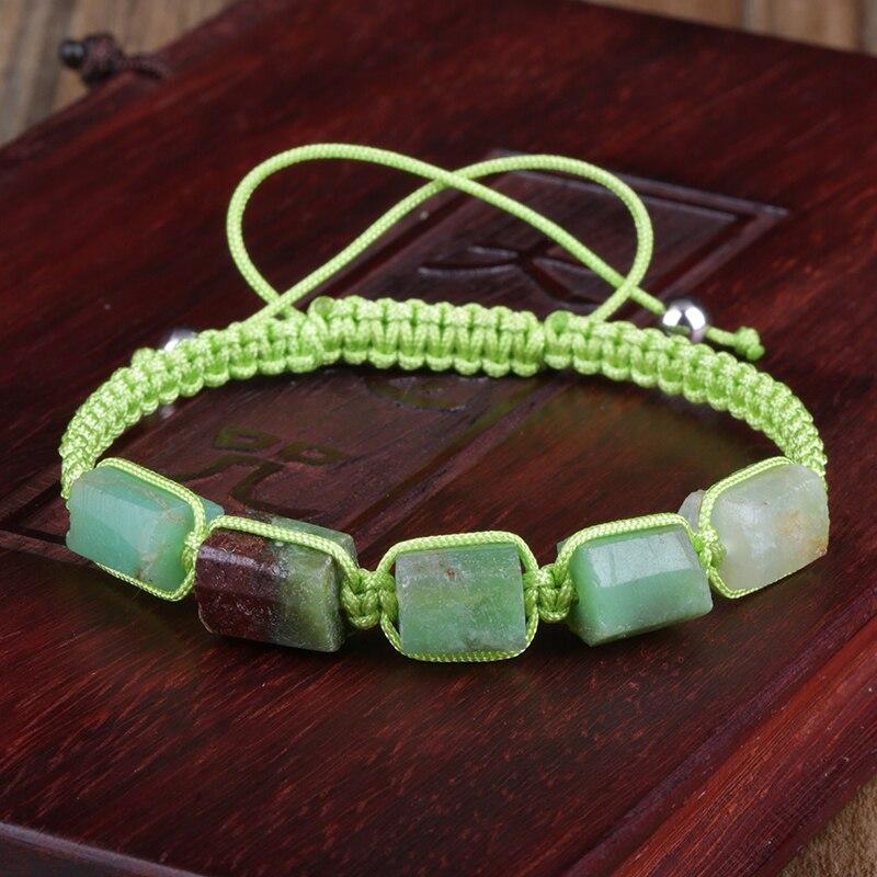 Multicolor Natutal Labradorite Stone Beaded Adjustable Handmade Cotton Rope Weave Energy Bracelet For Men Women Jewelry Gift