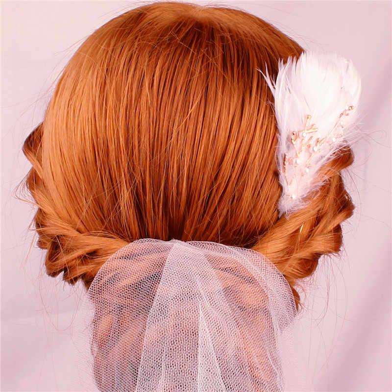 YJWSXF Braut Exquisite Kopfschmuck Handgemachte Braut Feder Legierung Perle Gold Kopfschmuck Hochzeit Zubehör