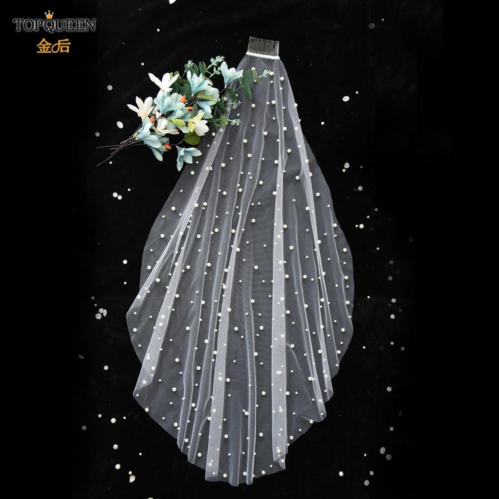 TOPQUEEN V01 Wedding Veil With Pearls Single Layer White Ivory Fingertip Bridal Veil with Hair Comb Wedding Accessories