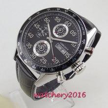 44 мм Corgeut черный циферблат Топ люксовый бренд из нержавеющей стали Чехол кожаный ремешок Дата автоматическое движение Мужские часы