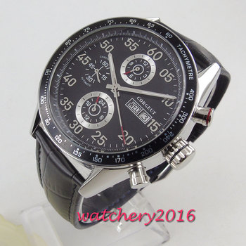 цена 44mm Corgeut Black Dial Top Brand Luxury Stainless steel Case Leather strap Date Automatic movement men's Watch онлайн в 2017 году
