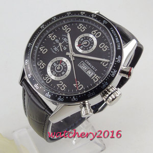 Image 1 - 44mm Corgeut siyah kadran üst marka lüks paslanmaz çelik kasa deri kayış tarih otomatik hareketi erkek saati