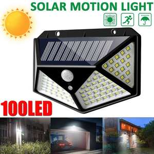 Image 2 - 100 LED 3 Modes Solar Power Wall Light With 2200mAh Battery Powered PIR Motion Sensor Outdoor Garden Lamp