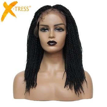 X-TRESS Synthetic Box Braids Hair Wig For Black Women Black Color Crochet Braided Short Bob Shoulder Length Hair Wig Middle Part цена 2017