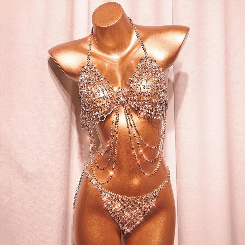 Hyperbolic See Through Bikini Set Halter Shiny Diamante Hollow Out Metal Bra Crop Top Hot Panties Seaside Lady Chic Biquini Set 1