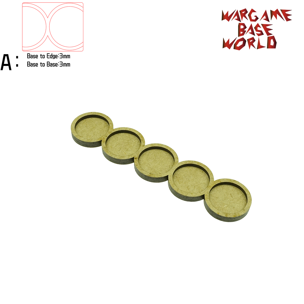Wargame Base World - Movement Tray - 5 Round 25mm - Line Shape MDF