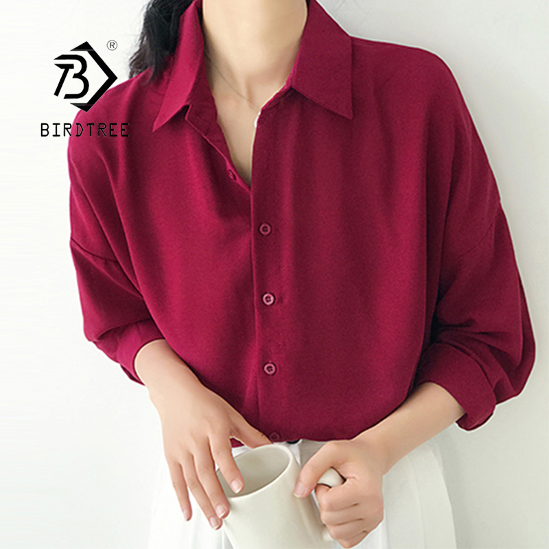 New Arrival Women Solid Turn-down Collar Chiffon Blouse Oversize Button Up <font><b>Wine</b></font> <font><b>Red</b></font> <font><b>Shirt</b></font> Korea Style Feminina Blusa T9O905F image