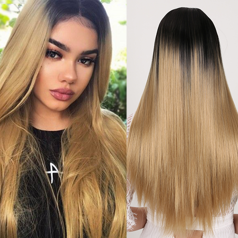 LUPU Long Straight Wigs Ombre Blonde Colors High Temperture Fiber Synthetic Two Tone Fake Hair Wig For Black Women