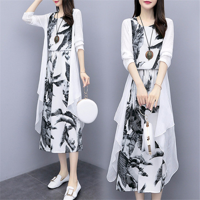Cotton And Linen Dress Suit Plus Size 2020 Spring Summer Loose National Style Printed Women's Elegant Dress Two-piece Set W2050 3