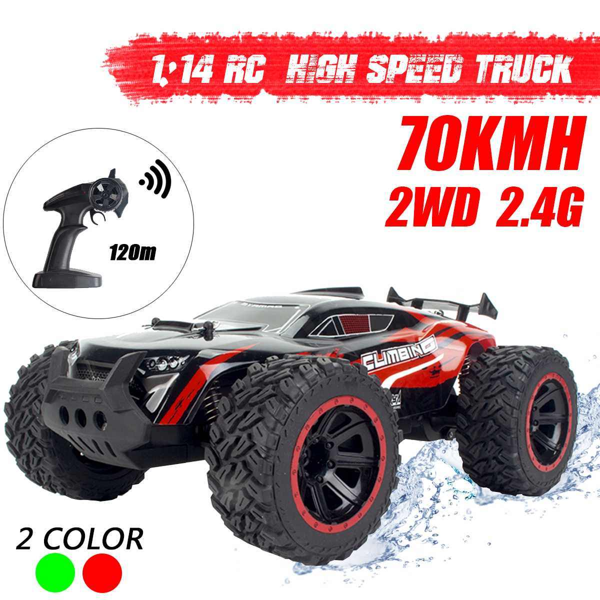 1:14 70 Km/h 2WD Rc Afstandsbediening Off Road Racing Auto Voertuig 2.4Ghz Crawlers Elektrische Monster Truck Rc