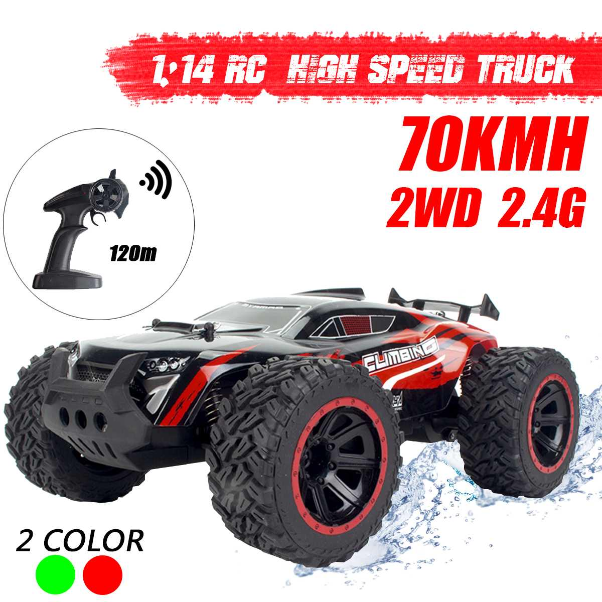 1:14 70Km/h 2WD RC Remote Control Off Road Racing Cars Vehicle 2.4Ghz Crawlers Electric Monster Truck RC image