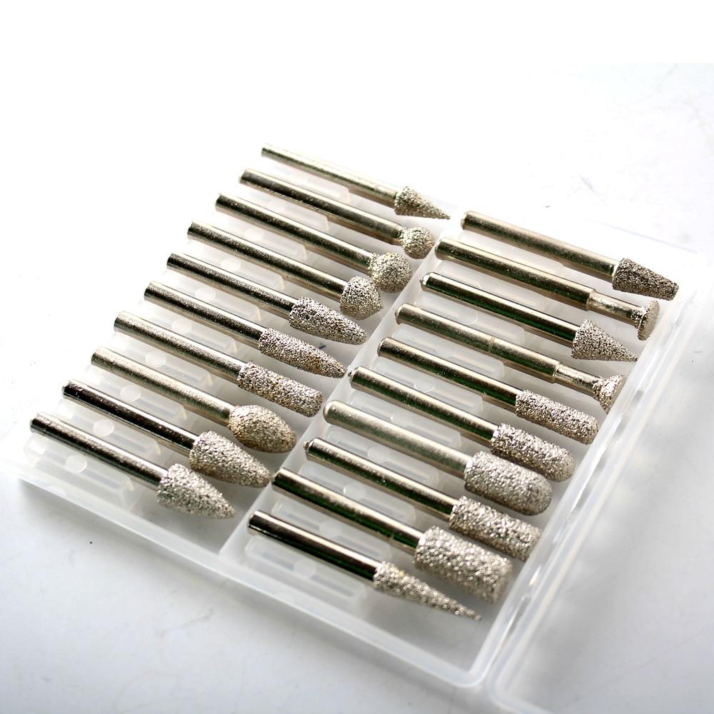Raizi 20 Pcs Diamond Burrs Dril Bits Set With 1/4