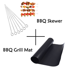 2pcs BBQ Grill Mat+30cm Steel Skewer Fork Barbecue Tool Set Outdoor Cooking Kebab Meat Stick Roaster Pad