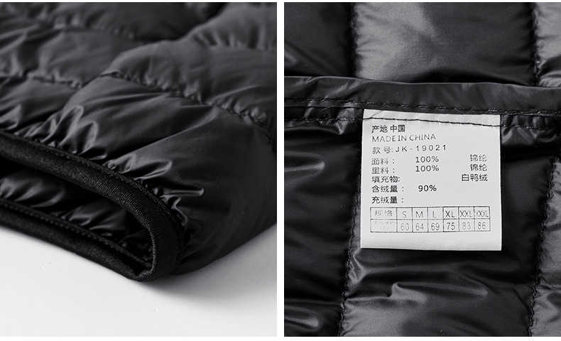 2019 秋冬フード付き超軽量ホワイトダックダウンジャケット男性カジュアル固体ウインドブレーカーウォームパーカーやつサイズ M-3XL