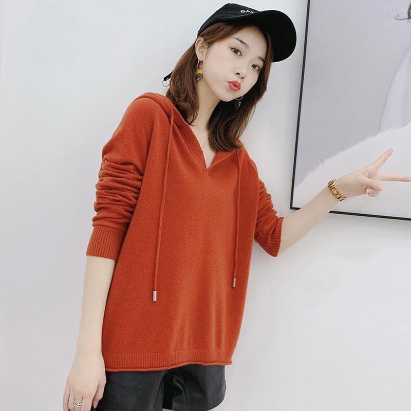 2019 Women's Casual Solid Hooded Pocket Long Sleeve Pullover Sweatshirt Top Blouse For FemaleBlack