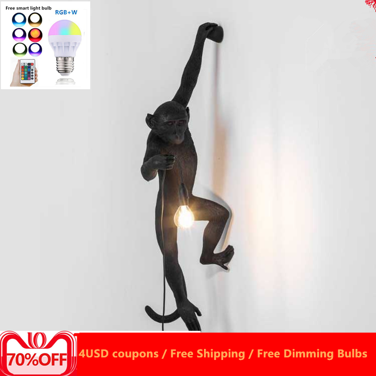 Resin Black White Monkey Pendant Light For Living Room Lamps Art Parlor Study Room Led Lights Lustre With E27 Dimming  Led Bulb