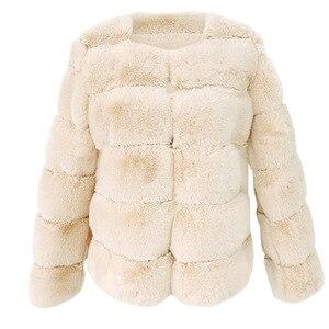 Image 4 - Mode Plus Size Vrouwen Jas Kunstmatige Bont Thermische Vrouwelijke Winter Warm Gewatteerd Jack Dikker Overjas Winddicht Casaco Vrouwelijke