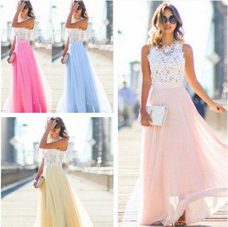 BacklakeGirls Contrast Color Chiffon Evening Dresses Round Neck Sleeveless Appliques Long Party Dress Sukienki Dla Dziewczynek