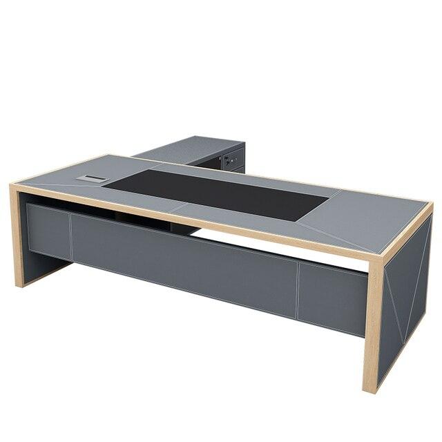 Gris en bois en cuir bureau maison étude chambre meubles petit ordinateur debout Table dapprentissage ensemble de bureau Tables exécutives