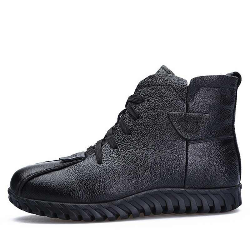 DRKANOL/2019 г.; женские зимние ботинки; зимняя теплая обувь; ботильоны для женщин из натуральной кожи на толстой шерсти; меховые ботинки на плоской подошве; женские ботинки