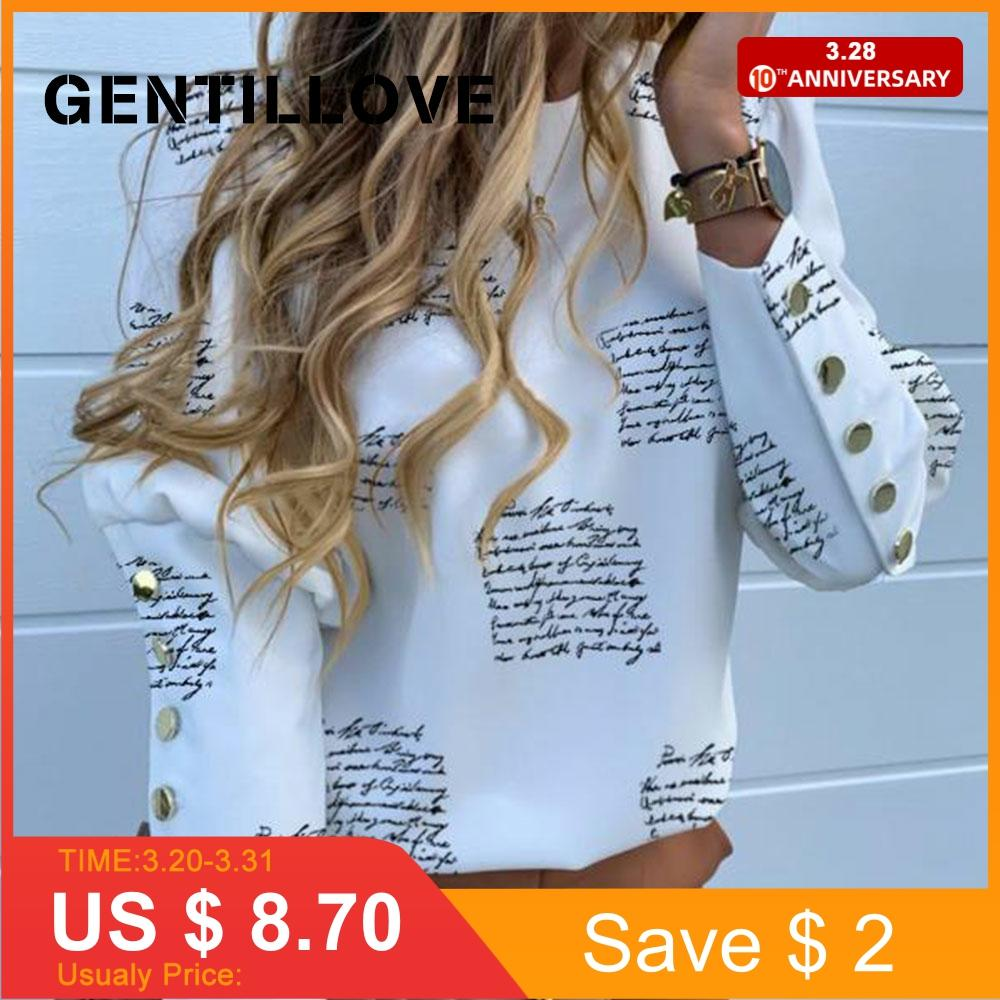 Gentillove Office Lady Metal Buttons Long Sleeve Blouse Casual Plus Size Shirts Pineapple Print Loose Blouse Harajuku Tops