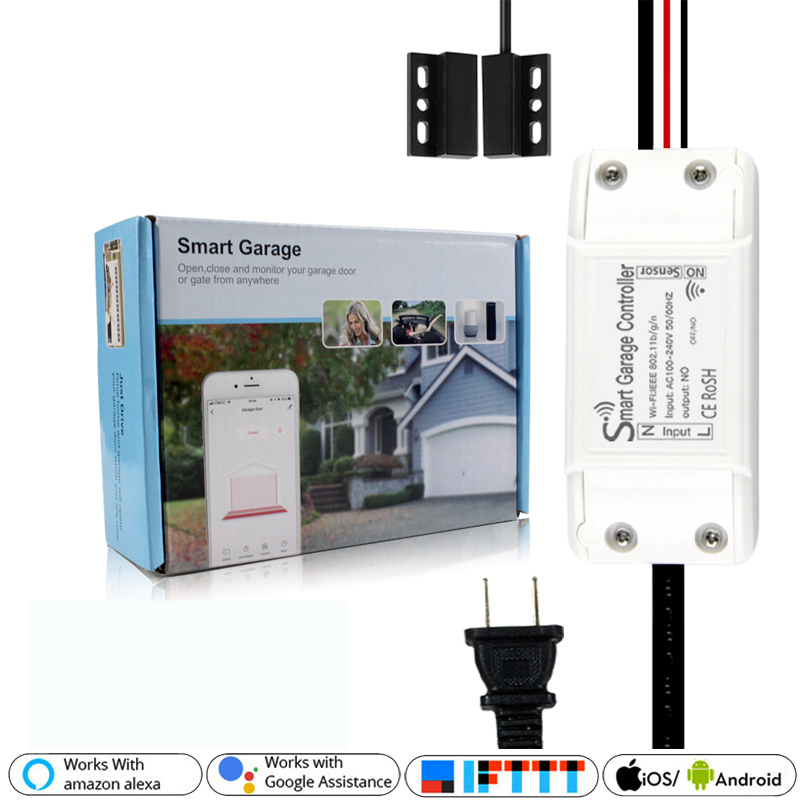 WiFi Smart Garage Door Controller Smart Life APP Remote Open Close Monitor Work With Alexa Echo Google Home IFTTT No Hub Require