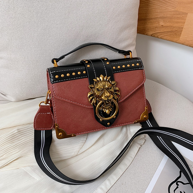 Hf6d3f625a4634d0989df4c5be752df88p - Female Fashion Handbags Popular Girls Crossbody Bags Totes Woman Metal Lion Head  Shoulder Purse Mini Square Messenger Bag