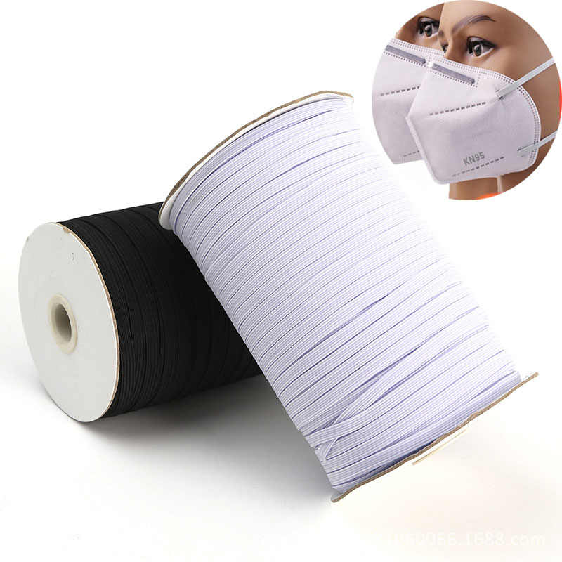 10M 3mm 6mm gumką maski elastyczny 8/10/12MM biały czarny wysokiej opaski elastyczne płaskie pas w talii szycie odzieży liny dla DIY maska