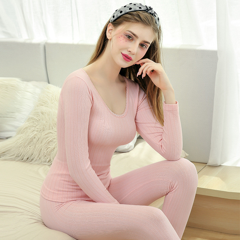 Fashion Autumn And Winter New Lace Thermal Underwear Set Elastic Slim Body Shaping Hip Ladies Long Johns