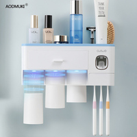 Wall Mount Magnetic Adsorption Inverted Toothbrush Holder Toothpaste Dispenser Makeup Storage Rack For Bathroom Accessories Set