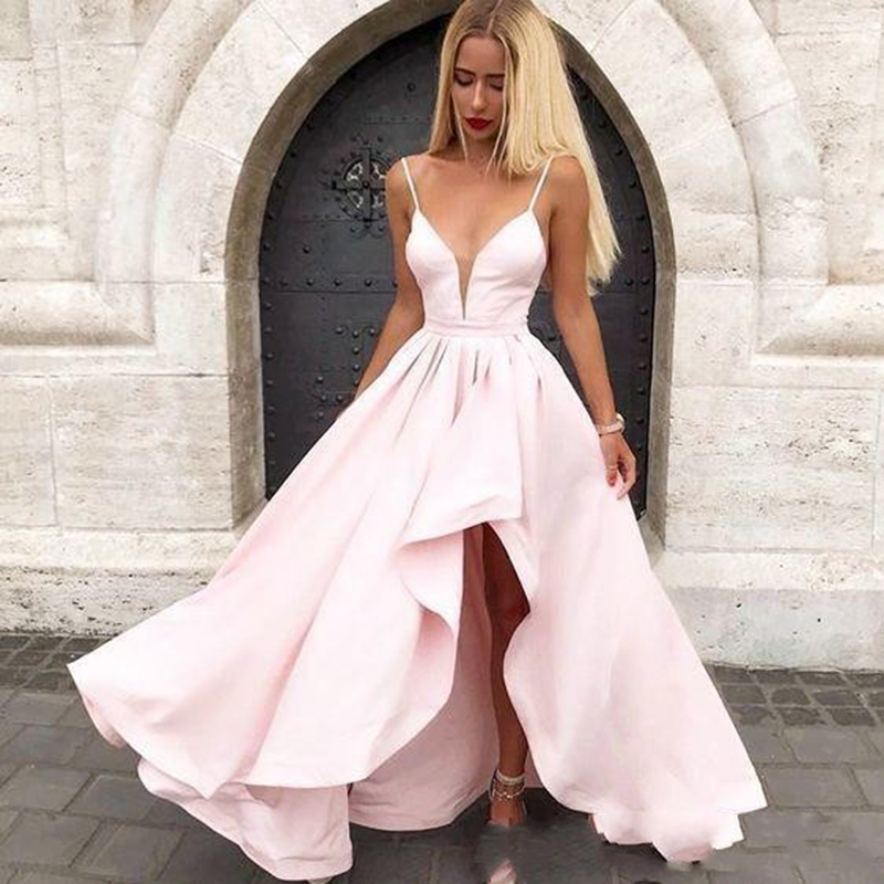 Pink V Neck Prom Gown 2019 Sexy Spaghetti Strap Front Short Rear Length Elegant Evening Dress For Women Dress Party