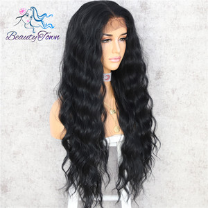 Image 3 - BeautyTown Black Color Body Wavy Silk Hair Halloween Holiday Women Wedding Party Daily Makeup Present Synthetic Lace Wigs