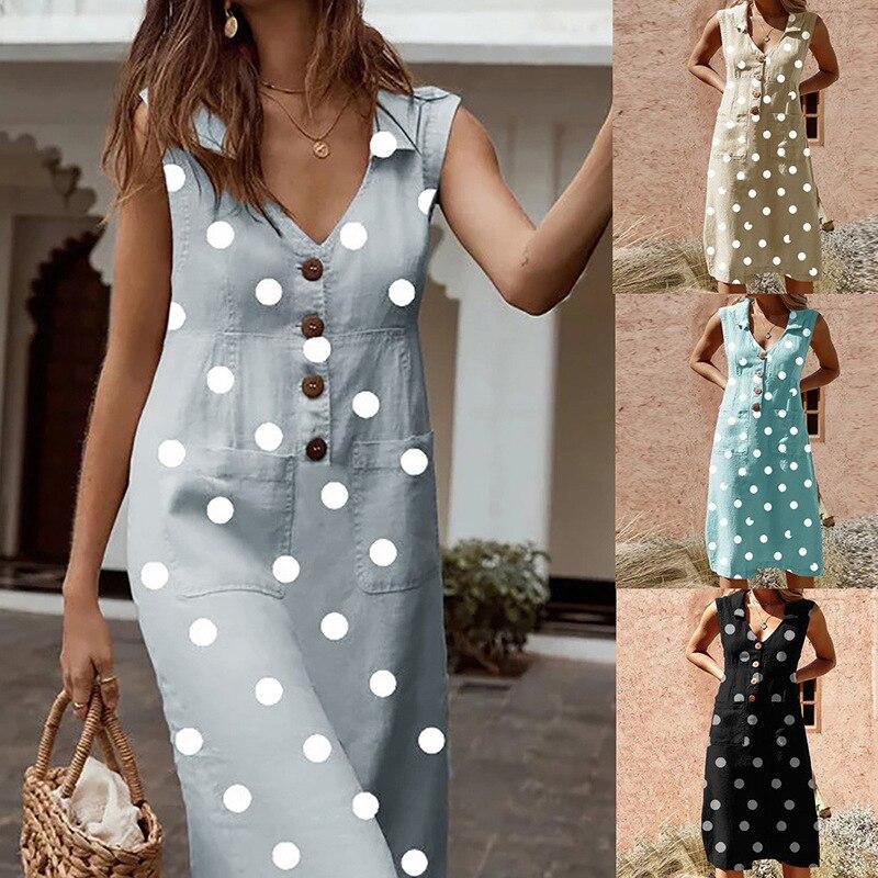 Women Plus Size Maxi Long Midi Dress Female 2020 Summer Sleeveless Polka Dot Street Wear Casual Loose A Line Dresses Vestidos