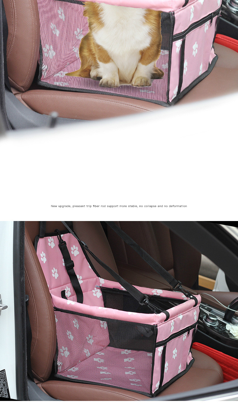 Pet Dog Car Carrier Seat Bag Waterproof Basket Folding Hammock Pet Carriers Bag For Small Cat Dogs Safety Travelling Mesh 2