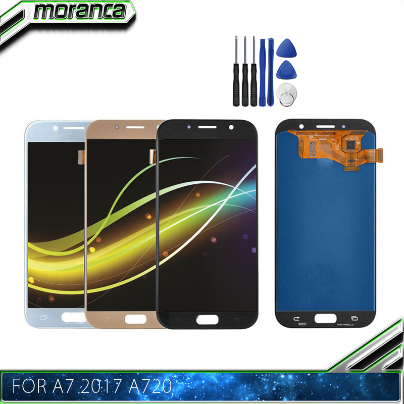 Super AMOLED Phones Display for <font><b>Samsung</b></font> Galaxy A7 2017 A720 <font><b>A720F</b></font> A720M LCDs Touch <font><b>Screen</b></font> Digitizer Assembly LCD Replacement image