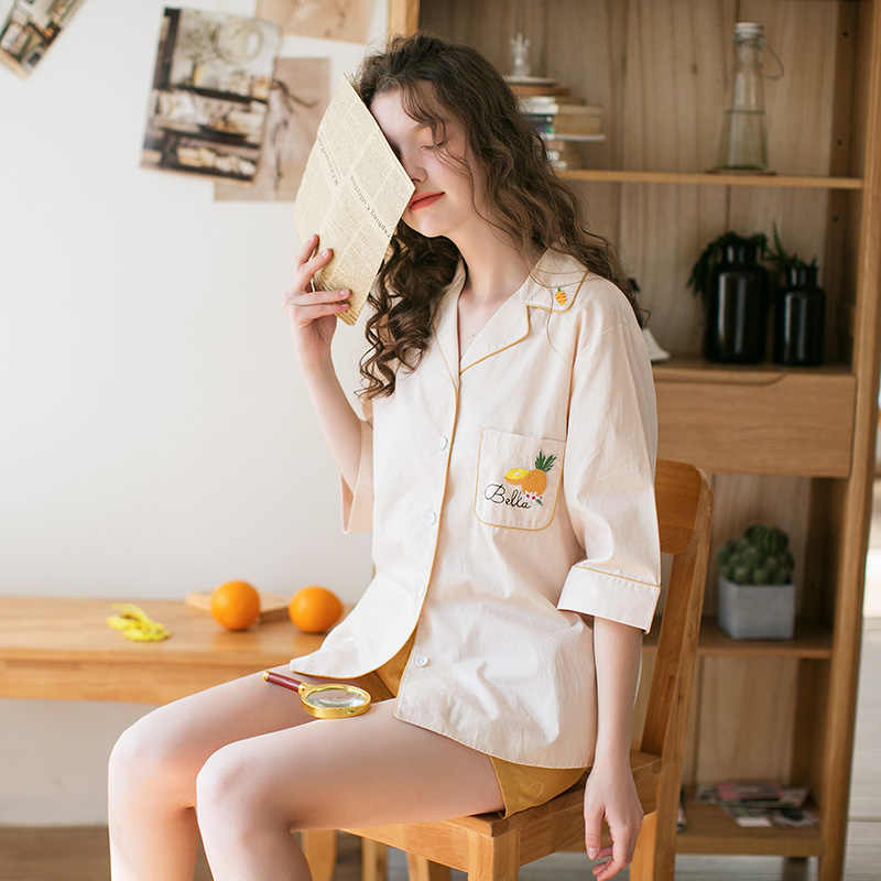 FENTENG קיץ 2Pcs הלבשת נשים מכנסיים קצרים חמוד אננס רקמת הלבשת כותנה מזדמן כתונת לילה J98011174