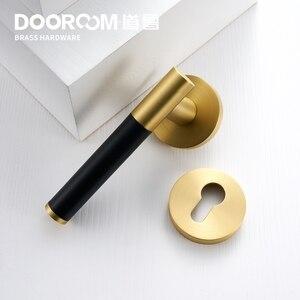 Image 5 - Dooroom Brass Leather Door Lever Set Modern Light Luxury Multi Colors Interior Bedroom Bathroom Wood Door Lock Set Dummy Handle