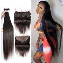 28 30 Polegada brasileiro em linha reta tecer cabelo humano pacotes com fechamento 13x4 barato frontal com 3 4 pacotes de cabelo remy