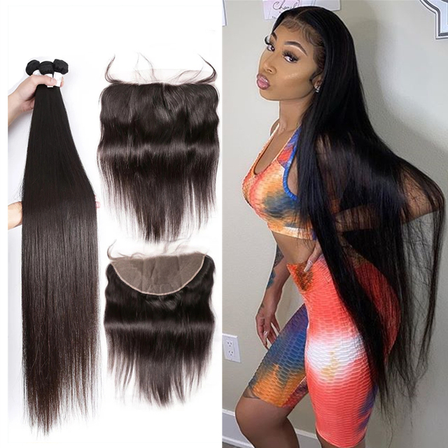 28 30 Inch Brazilian Straight Human Hair Weave Bundles With Closure 13x4 cheap Frontal With 3 4 Bundles Remy Hair