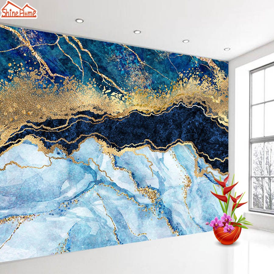 Abstract Blue Marble Wall Paper 3d Glitter Gold Wallpaper Self Adhesive Wallpapers For Living Room Home Improvement Mural Roll