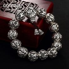 Echt Solide 990 Silber Buddhistischen Armband Herren Mantra Perlen Geschnitzt Sechs Worte Om Mani Padme Hum Für Tibetischen Gebet Elastische seil