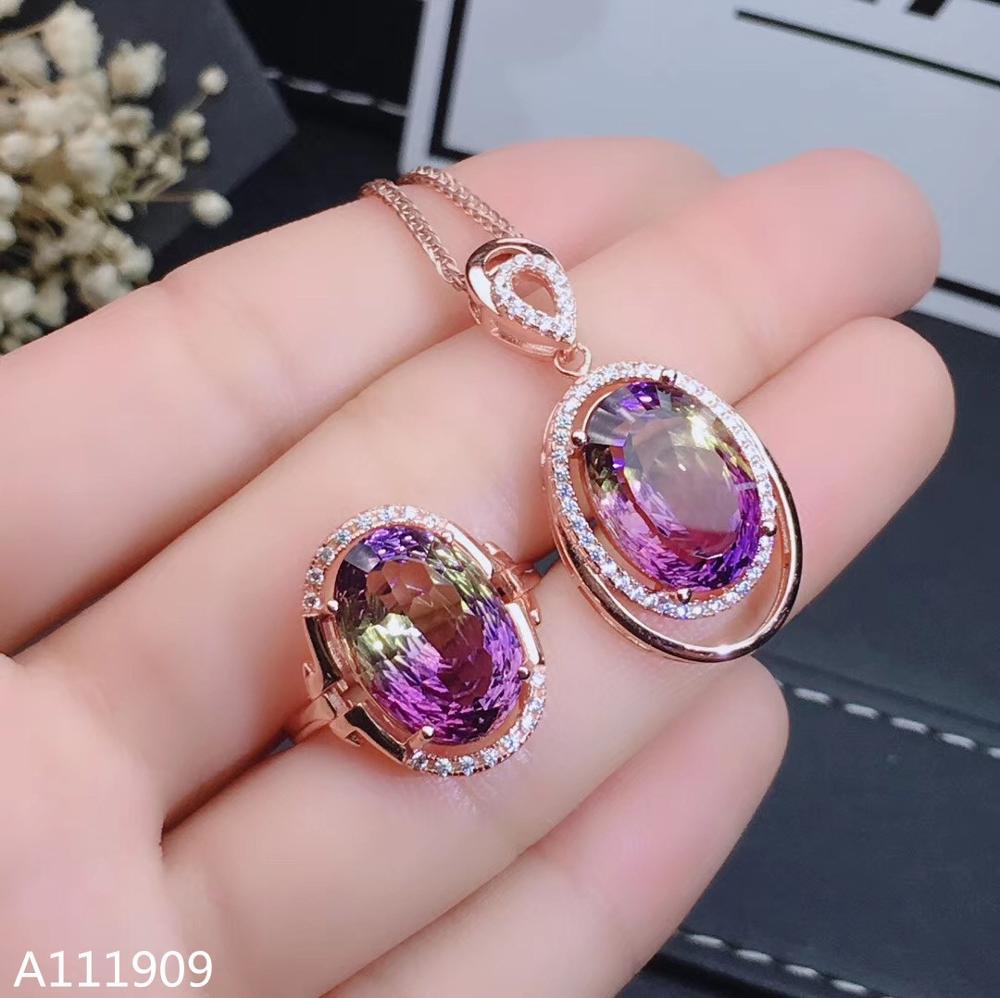 KJJEAXCMY boutique jewelry 925 sterling silver inlaid Ametrine necklace pendant ring Women's set