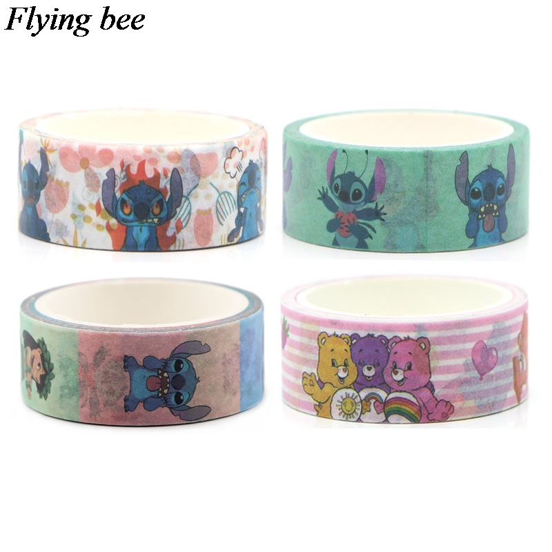 Flyingbee 4pcs/set Cartoon Anime Creative Adhesive Tape Funny Sticker Paper Washi Tape Tapes Set Gifts X0635
