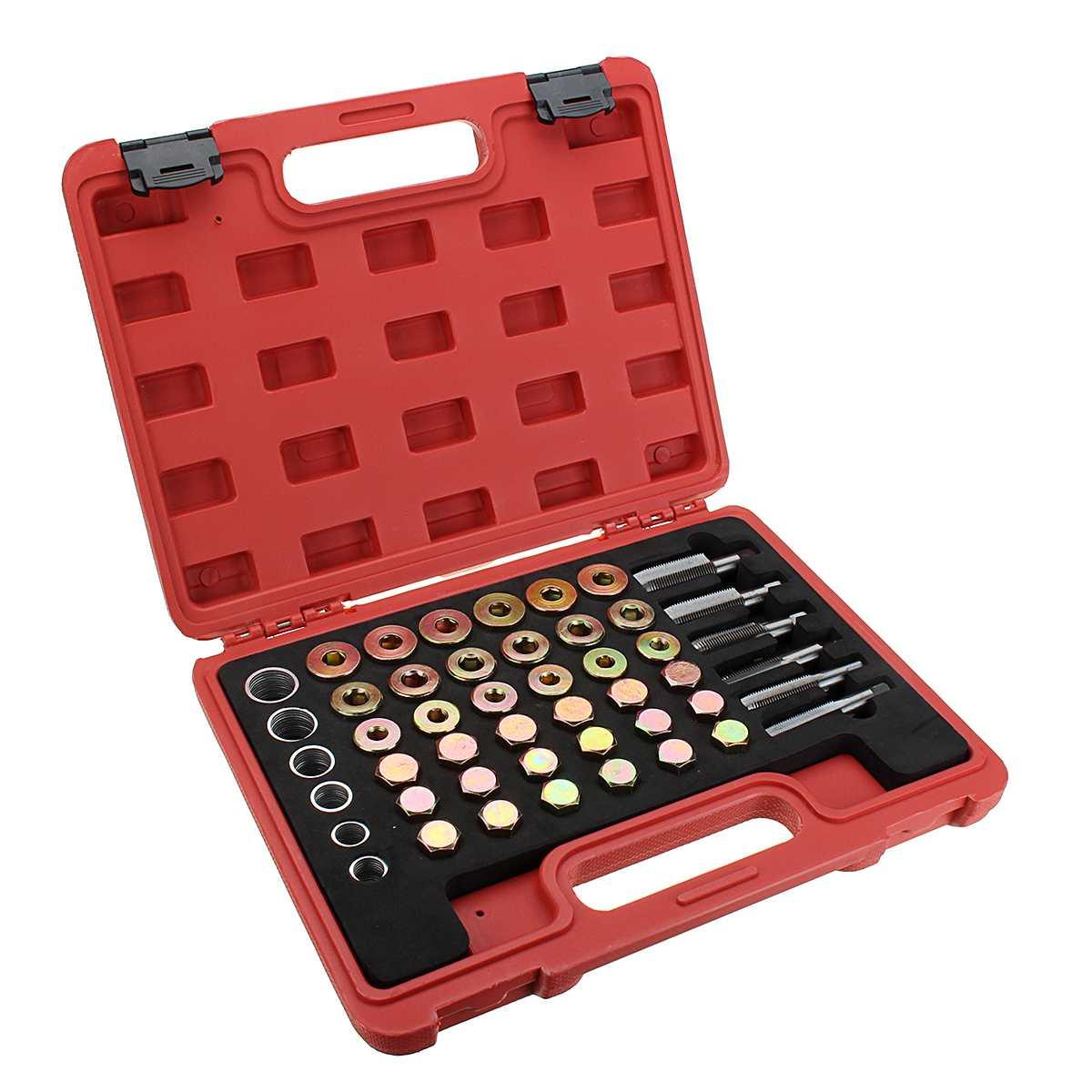 114PCS Universal Car Oil Pan Thread Repair Kit Gearbox Drain Plug Washer Seal Tool Set Car Repair Tools